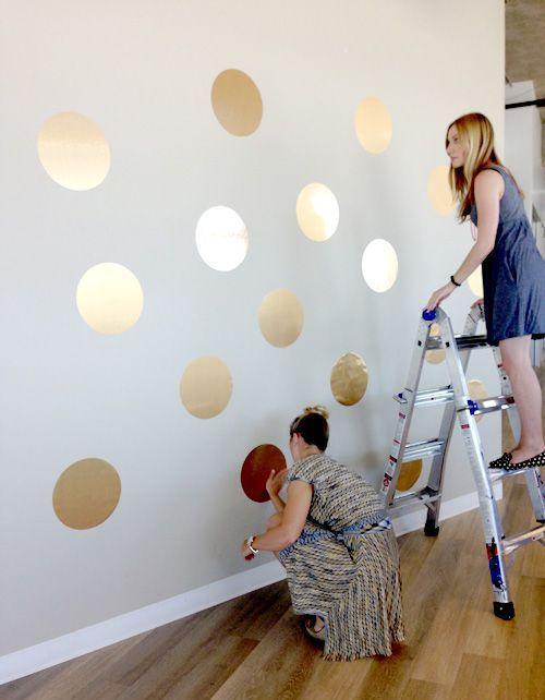 an eye-catchy polka dot accent wall