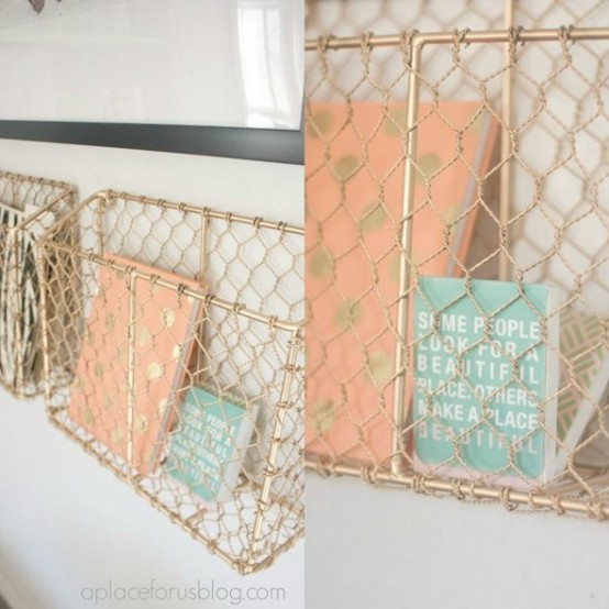 metal net storage units spray painted gold is a chic and refined idea for any space and it will add a glam feel