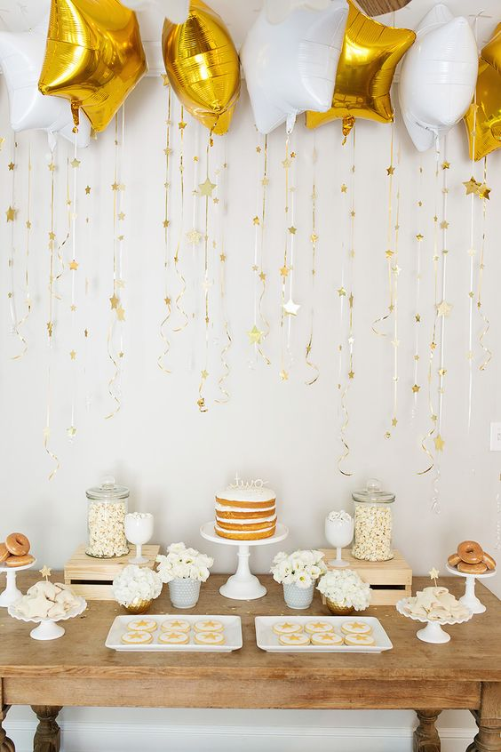 gold and white gender neutral baby shower
