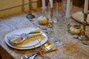 gold and brass cutlery and candleholders will make your wedding tablescape refined, chic and vintage-inspired
