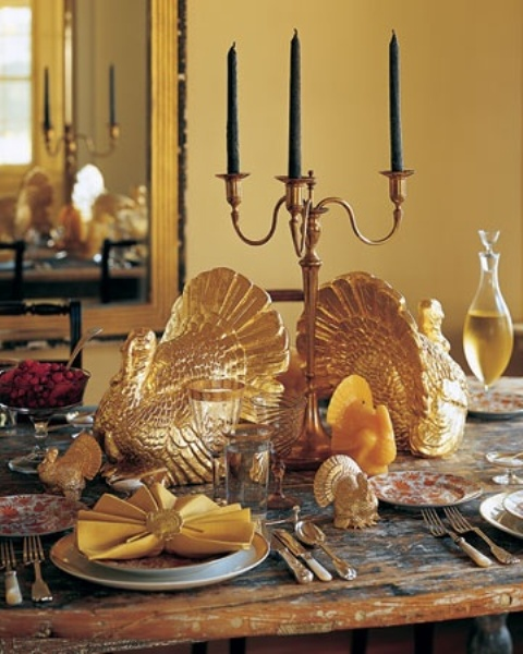 35 gold thanksgiving d cor ideas digsdigs Thanksgiving table