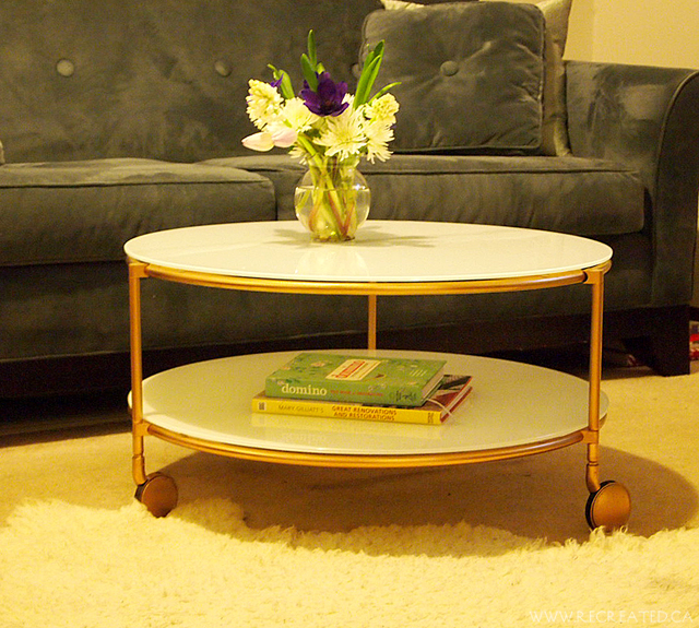 golden IKEA Strind table