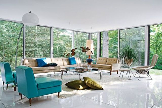 Picture Of gorgeous airy mid century modern living rooms  34