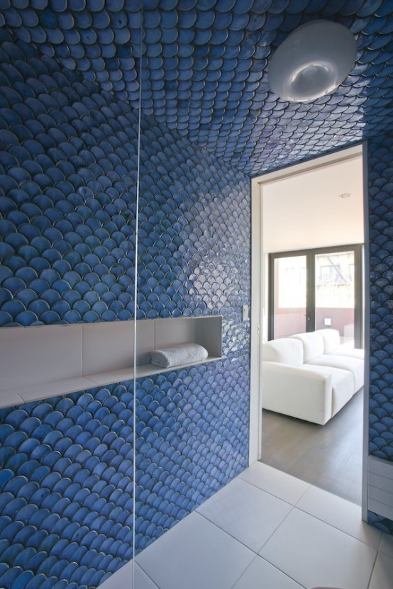 32 gorgeous and eye catching fish scale tiles d cor ideas for Fish scale tiles bathroom