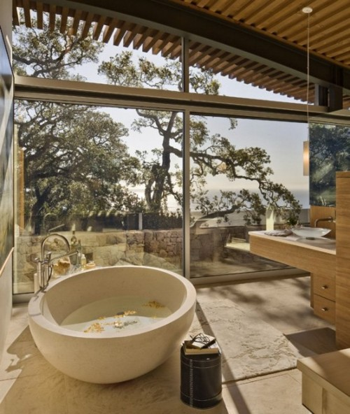 Gorgeous Bathroom With A Glass Wall