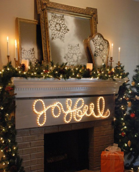 31 gorgeous indoor dcor ideas with christmas lights - Decorating Your Mantel For Christmas