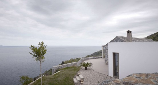 Gorgeous White Seaside Villa Melana In Stone And Concrete