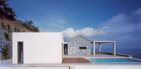 Gorgeous Seaside Villa Melana In White Stone