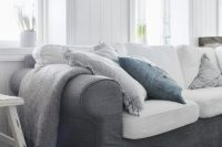 graphite grey sofa in a living room