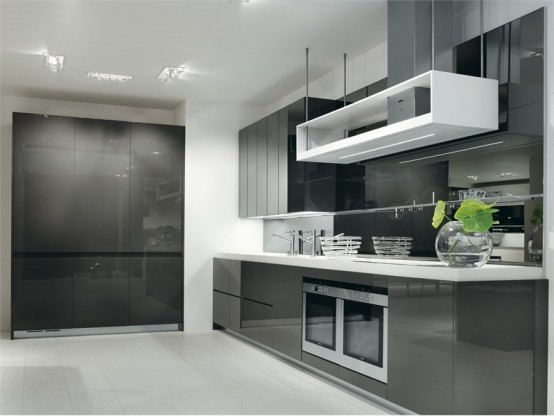 Gray White Kitchen Design Longline Salvarani