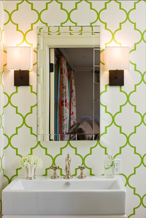 71 cool green bathroom design ideas digsdigs for Cool bathroom wallpaper