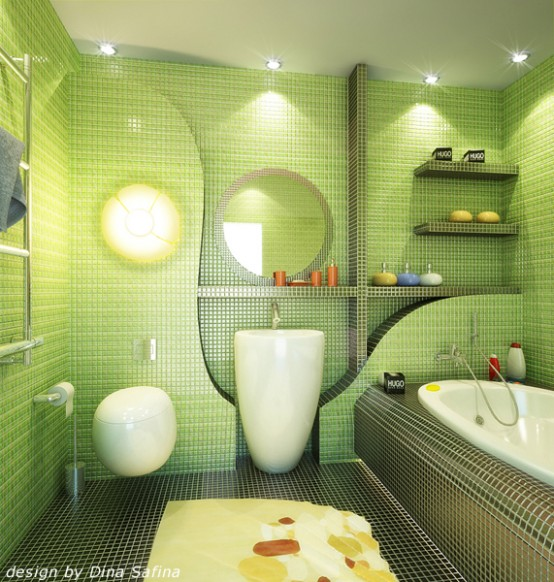 71 cool green bathroom design ideas digsdigs for Bathroom ideas 1920s home