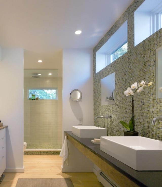 71 cool green bathroom design ideas digsdigs for Contemporary bathroom interior design