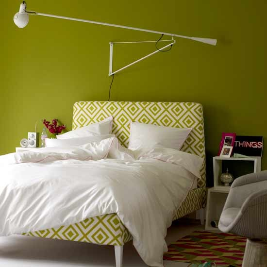 Green Bedroom With Statement Lamp