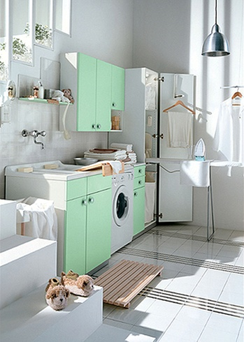 White and Colored Laundry Room Cabinets from Idea Group | DigsDigs