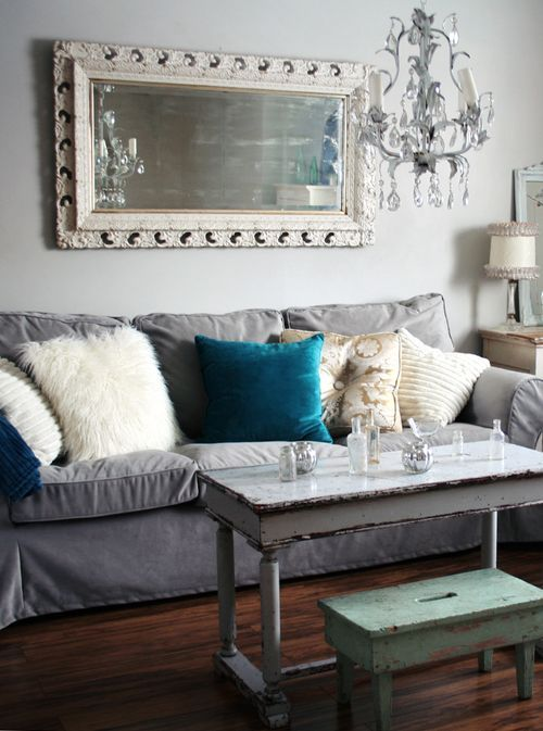 grey Ektorp sofa for a shabby chic family room