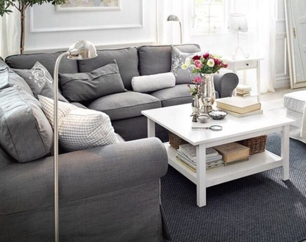 Charmant Grey IKEA Ektorp Sofa For A Modern Living Room