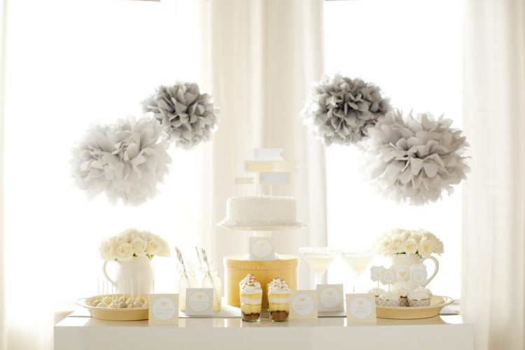 grey and white  gender neutral baby shower