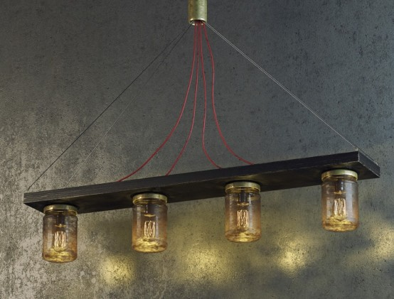 Grungy Industrial Jar Lamp For Mens Caves
