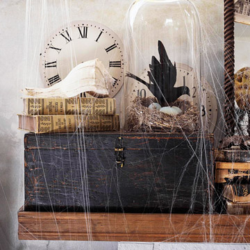 Cobwebs are easy touches to finish off any Halloween display.