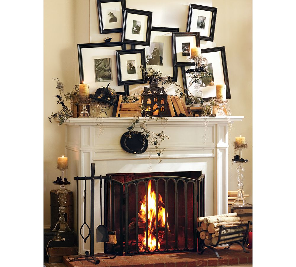 50 great halloween mantel decorating ideas digsdigs. Black Bedroom Furniture Sets. Home Design Ideas