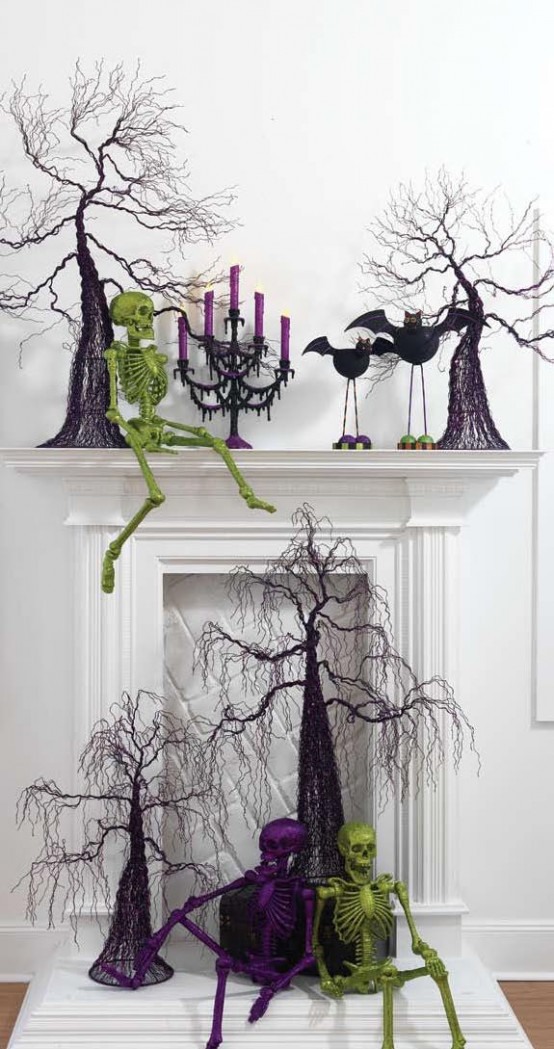 Spray painted skeleton figures might become a great way to add a personal touch to your Halloween decorations.