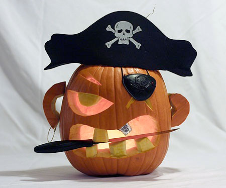 Cool pirate pumpkin carving idea with a knife.