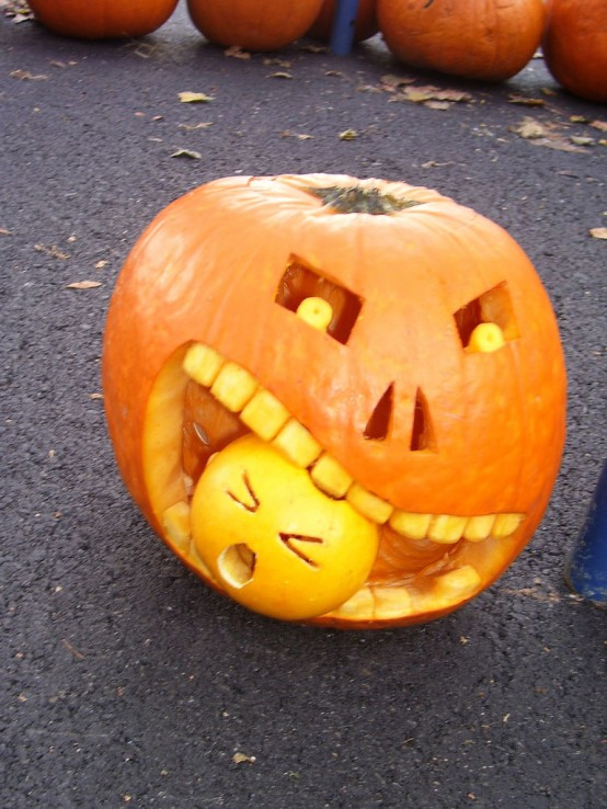 A pumpkin eating a pumpkin. It's as scary as it gets.