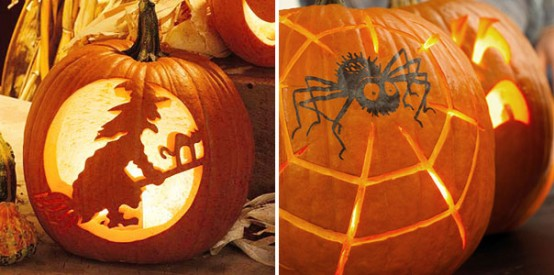 Spook your trick-or-treaters, neighbors and guests with a creepy spider decal or carving.