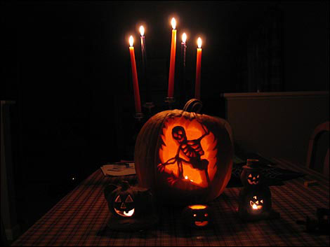 Light up your late night porch with illuminated jack-o'-lanterns. Candles are great as to put them inside as to use outside.
