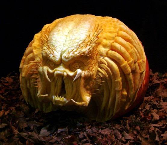 The predator pumpkin design would be perfect for those who still remember the movie.