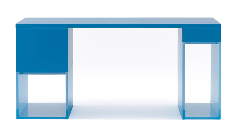 Modern Home Office Desk With Colored Acrylic Base – Halo by Dune