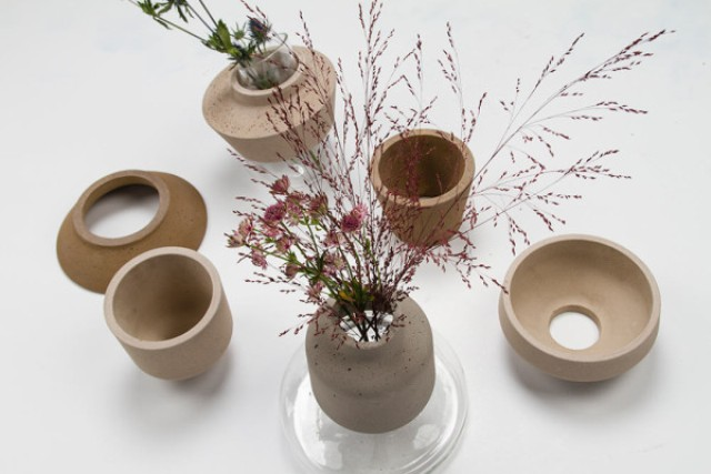 Harmonious Combo 100sand Vases From Glass Concrete And Sand