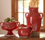 burgundy porcelain jugs, vases and sugar pots with wheat, artichokes are amazing for vintage and rustic Thanksgiving decor
