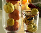 clear glasses with gourds and pumpkins for natural fall or Thanksgiving decor look amazing and are easy to make