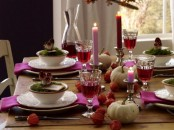 white pumpkins, dried blooms and faux mushrooms used for Thanksgiving decor give a natural feel to the tablescape