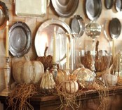 natural and mercury glass pumpkins, hay and candles in metallic candleholders are beautiful for rustic and vintage ome decor