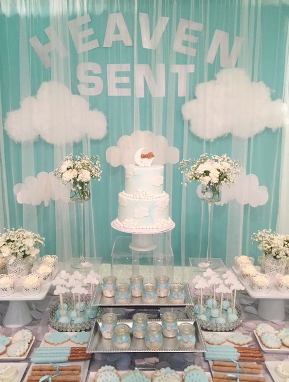 heaven-themed dessert table for a boy baby shower