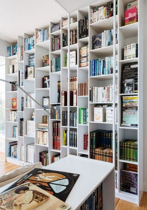 here is a modern twist on floor-to-ceiling billy storage