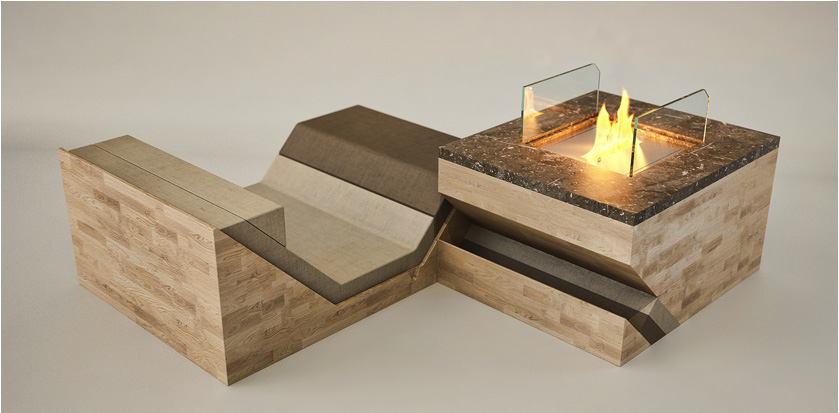 Stylish Hillside Fireplace Comprised Of A Sofa Chair And A Coffee Table