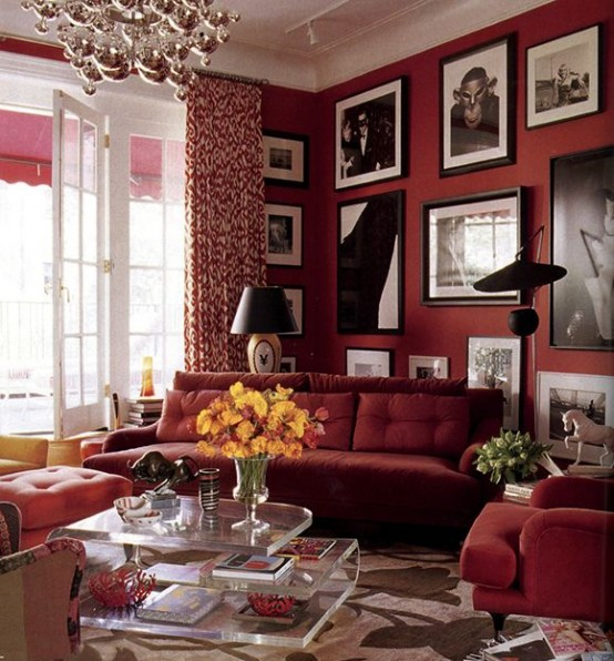 24 Hot Cranberry Monochromatic Rooms