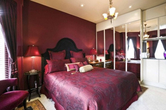 Hot Cranberry Monochromatic Rooms