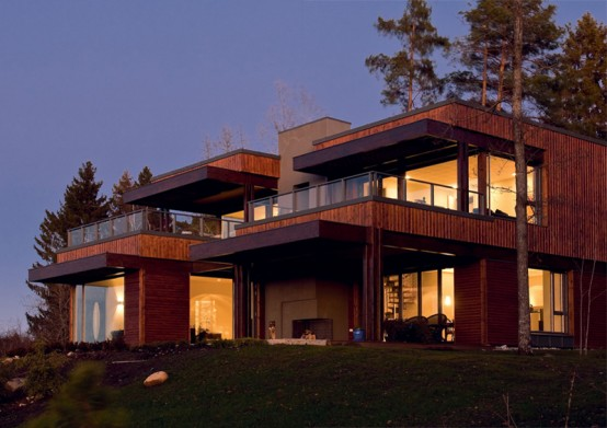 brown house design, brown house exterior, forest house design, forest houses, house in forest, willa nordic, modern home designs