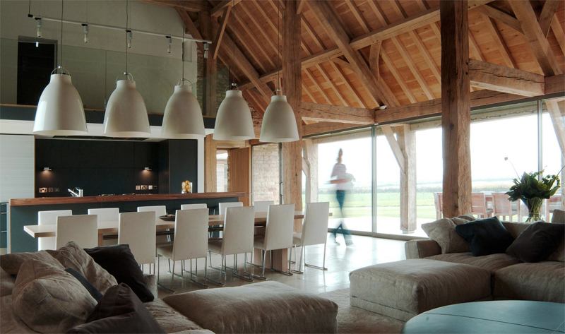 Barn converted to the contemporary house with a pool Barn home interiors
