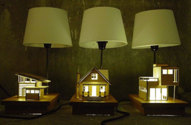 House Lamp With Wooden House Models