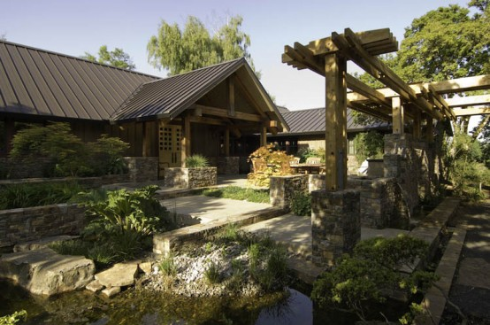 House With Natural Wood And Stone Interior And Exterior