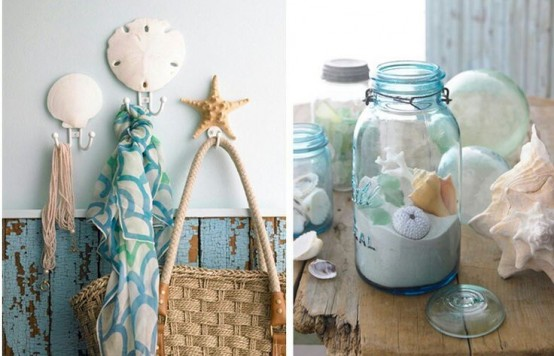 seashell hooks on the wall and a jar with sand and seashells to give a coastal or beach feel to the space