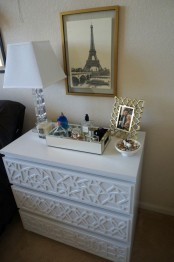 personalize your IKEA Malm dresser with various white geometric panelling on the drawers
