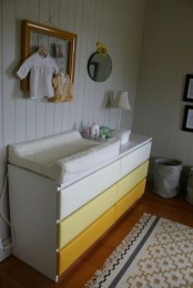 an ombre IKEA Malm hack from white to bright yellow is a cool idea for a kids' space