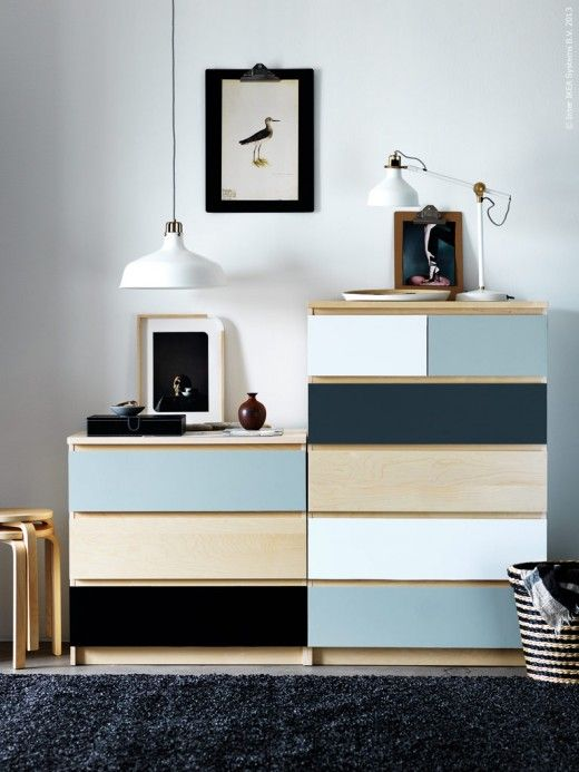 a simple IKEA Malm dresser hack with white, blue and black paints on different drawers